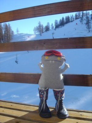 Babo learns to ski